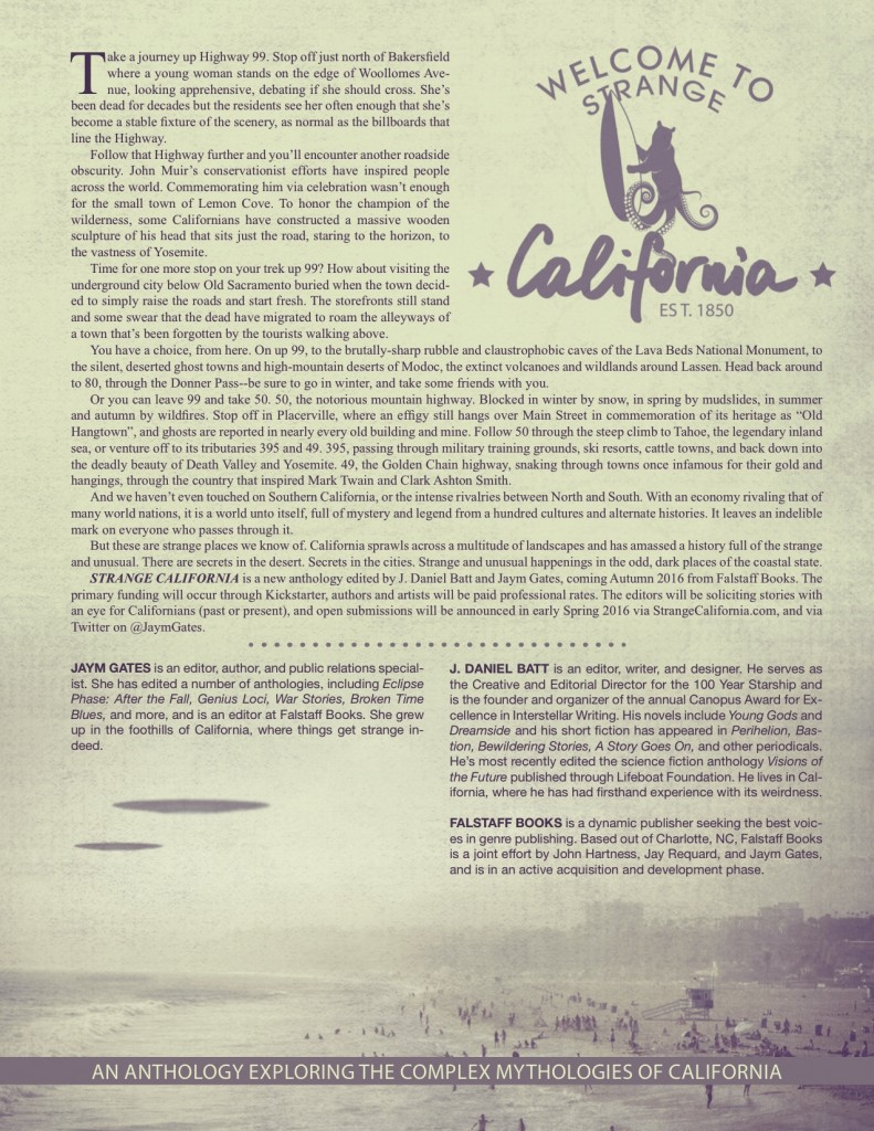 Strange California Anthology Announcement January 2016